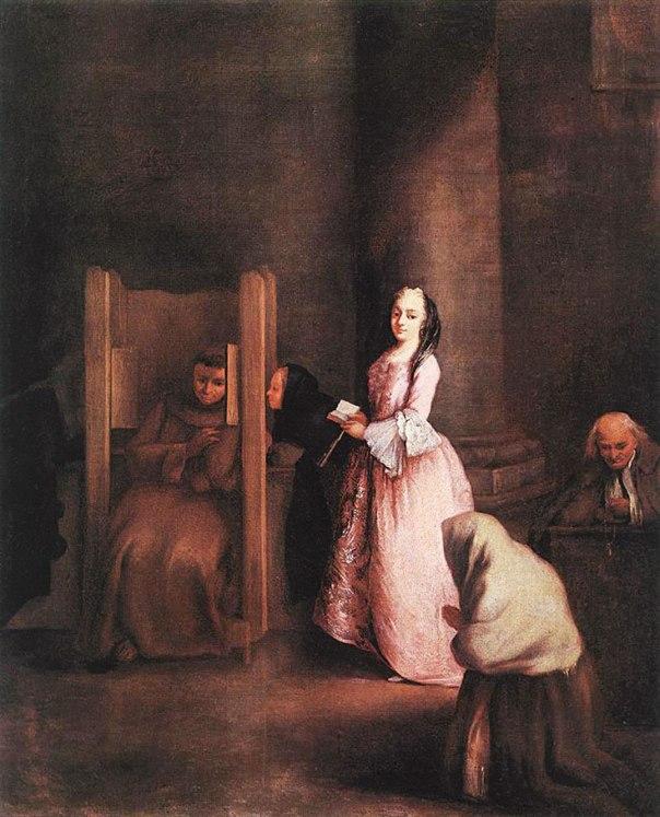 התפיסה הנוצרית מניחה את החטא ביסודה. הווידוי, פייטרו לונגי, 1750 