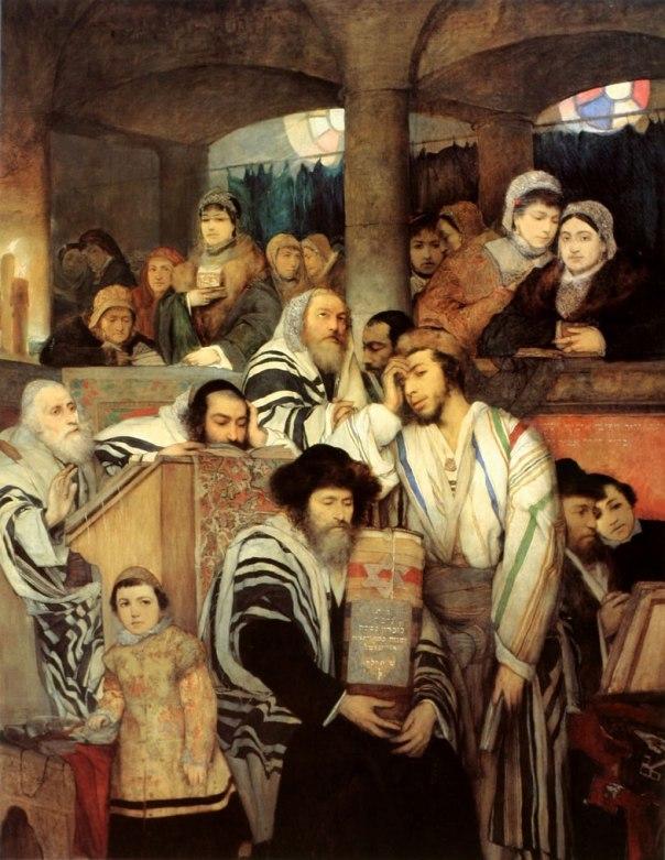 האמן מתאר חוויות של עולם שהוא כבר אינו שייך אליו. מאוריצי גוטליב, יהודים מתפללים בבית הכנסת ביום הכיפורים 1878