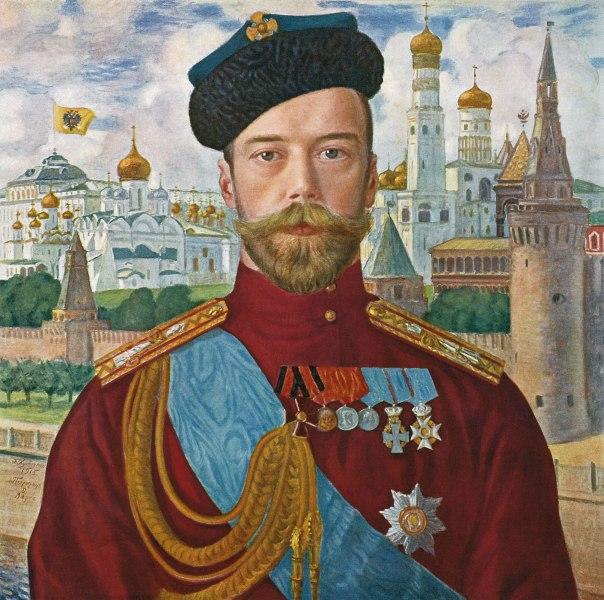 הכוח המנוגד לקיום היהודי הסביל הוא משטר הצאר. הצאר ניקולאי השני על רקע הקרמלין, בוריס קוסטודייב, 1915