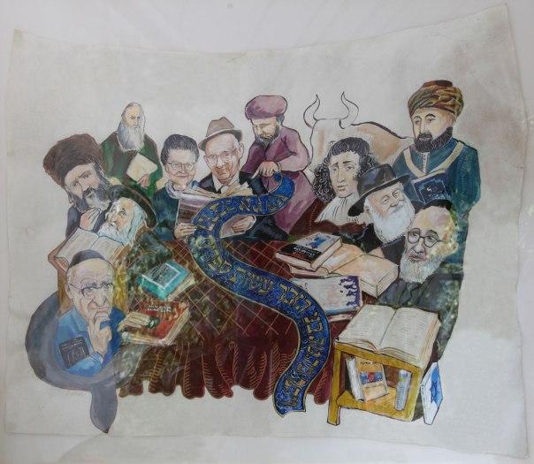 דמויות רבות יושבות סביב השולחן וקוראות בספריו של אבא. משה שפירא, עשות ספרים הרבה, 2015