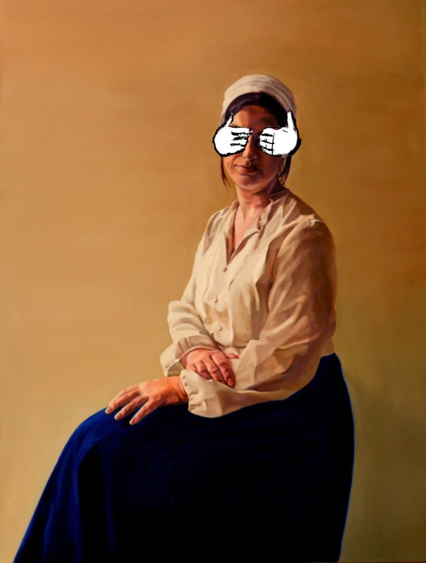 """להצחיק ולהחיות את הדמות והדימוי. רננה ויוני שלמון, מחווה, הקרנת אנימציה על ציור שמן, 2015 צילום: יח""""צ"""