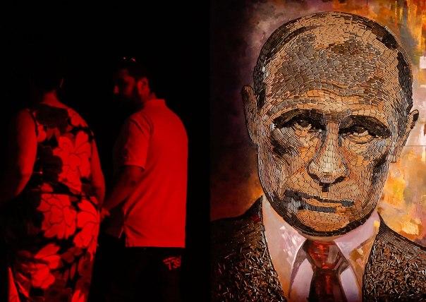 """נחוש לא לוותר. הציור """"פני המלחמה"""" מאת הציירת האוקראינית דריה מרצ'נקו, קייב 2015 צילום: אי.פי.אי"""