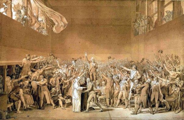 """לא כך נבנית מערכת נורמטיבית טובה. """"השבעת מגרש הטניס"""", שבו ביקשו המורדים כינון חוקה במהלך המהפכה הצרפתית, ז'אק–לואי דויד, 1791"""