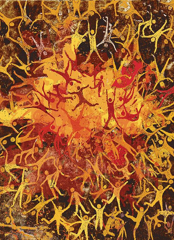 """שרה בורשטיין, אש, 2015. מתוך """"מים - אש"""", הביאנלה הרביעית להדפס, המוצגת במבנה טחנת הקמח הצלבנית ב""""שמורת טבע עין אפק"""" במפרץ חיפה"""