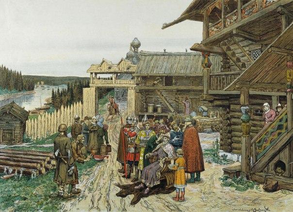 הערכים הבולטים היו אומץ לב, העזה, גבורה ופראות. מוסקבה בימי הביניים, אפולינרי וסנצוב, 1908