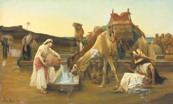 נסיעתה ניתקה אותה באופן מוחלט וסופי ממשפחתה. רבקה משקה את גמליו של אליעזר, אלכסנדר קבנל, 1883