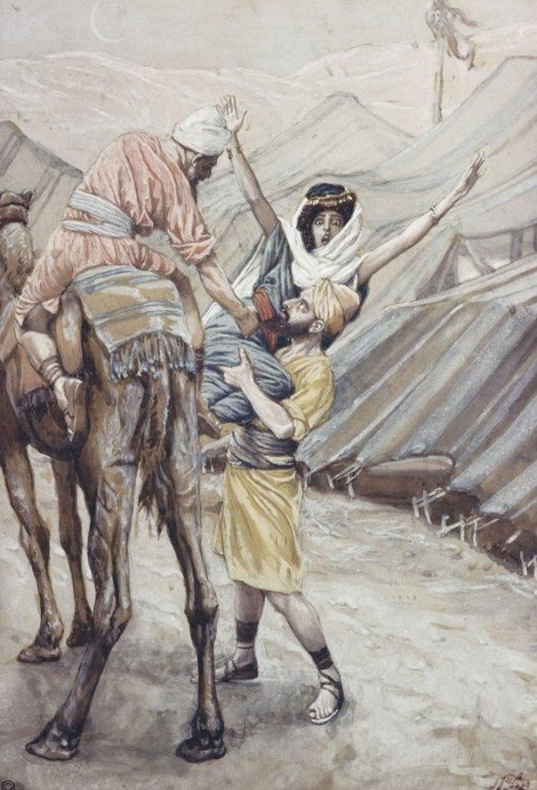 האונס הראשון בהיסטוריה שלנו. חטיפת דינה, ג'יימס טיסו, המאה ה–19