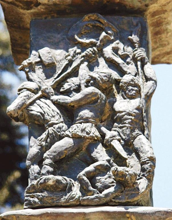 סיפור של עם קטן, שיוצא להילחם על חירותו. מרד החשמונאים, על פי האמן בנו אֶלקן ביצירתו מנורת הכנסת צילום: תמר הירדני