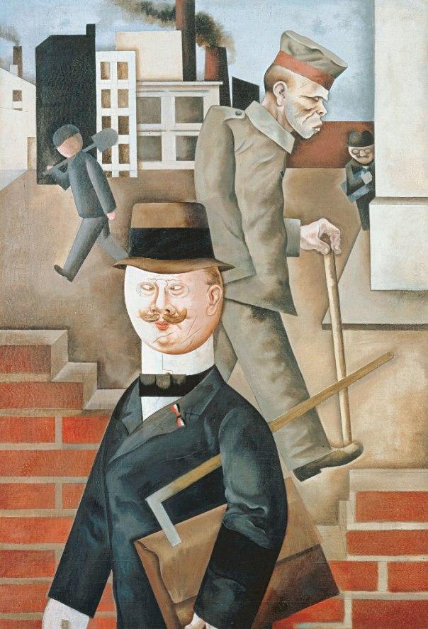 """ניסיון כושל להצלת יצירות אמנות """"מנוונת"""" מציפורני הנאצים. ג'ורג' גרוס, יום אפור, 1921. מתוך התערוכה """"לילה יורד על ברלין"""" המוצגת במוזיאון ישראל """