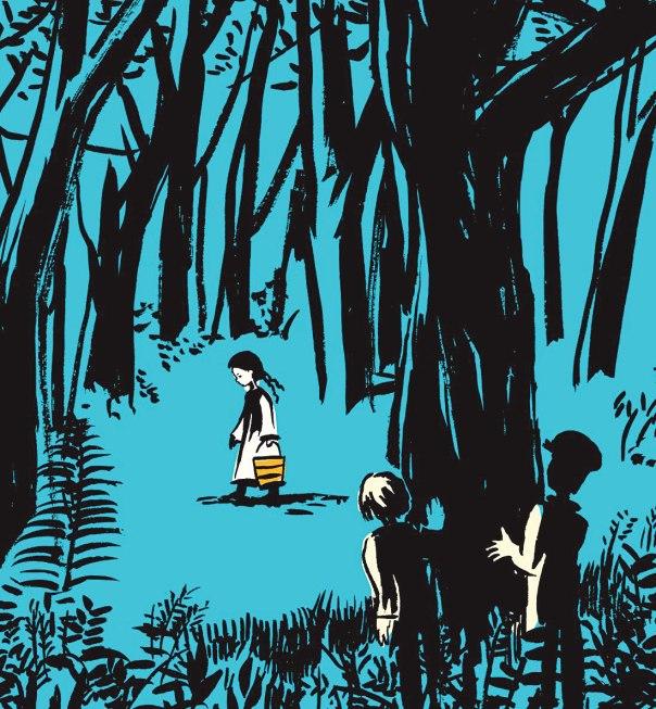 """מתבונן בעולם שמסביב בדממה ובשתיקה. כריכת ספרו של אהרן אפלפלד, """"ילדה שלא מן העולם הזה"""", באיורה של ולי מינצי"""