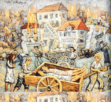 קידוש השם על–ידי עצם ייחודו של היהודי כיהודי. שמואל ניסנבאום, עגלת המוות (ההפצצה הגרמנית על ורשה), 1980