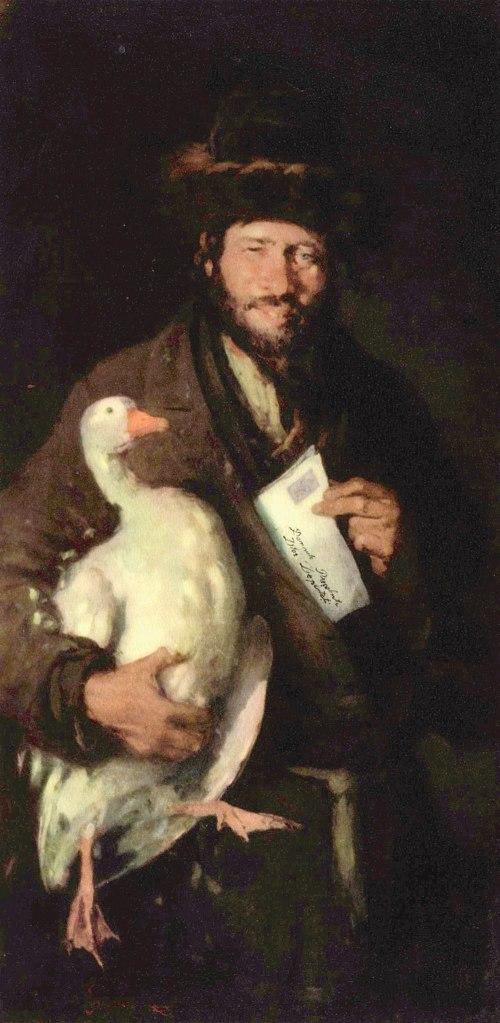 במאה ה-19, רק אחוז מיהודי המדינה קיבלו זכויות. יהודי עם אווז ברומניה, ניקולאה גריגורסקו, 1850