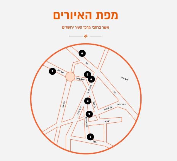 קומדיה רומנטית בשבעה חלקים. מפת מסלול האיורים במרכז העיר ירושלים עיצוב: גרוטסקה