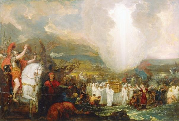 הדור שזכה להיכנס לארץ אינו דורו, אלא הדור של בניו. יהושע ובני ישראל חוצים את הירדן, בנג'מין ווסט, 1800