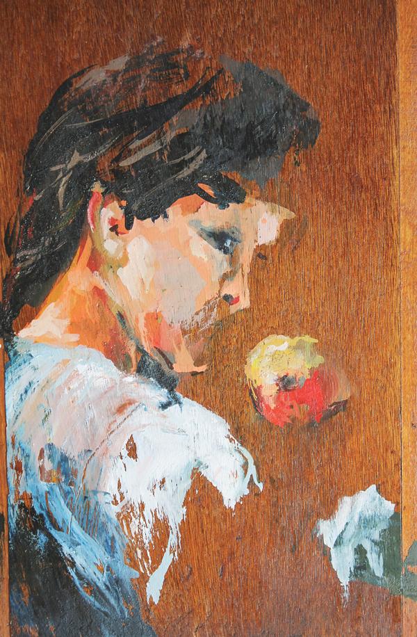 """רננה לאוב, תפוח. מתוך התערוכה """"לחישות"""" המוצגת בבית האמנים, ירושלים"""