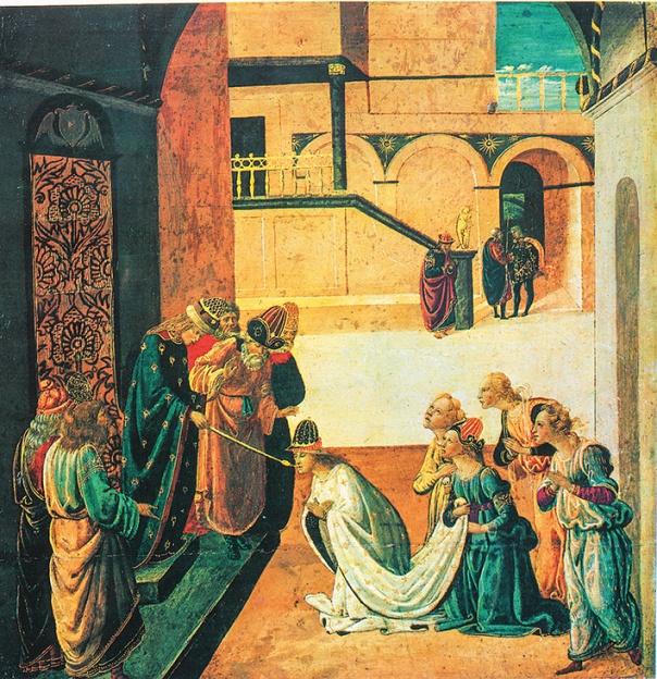 גם המלך חורג מן הכללים. אחשוורוש מושיט לאסתר את השרביט, ז'אקופו דל סלאיו, 1470