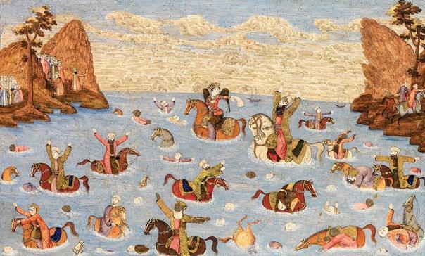 """פרעה וחייליו טובעים בים, איראן, המאה ה–19 מתוך התערוכה """"מוסא במצרים – תיאורי משה בציור האסלאמי"""", המוצגת במוזיאון ישראל, ירושלים"""