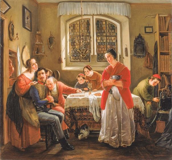 """המשפחה מקבלת באהבה את """"הבן האובד"""". מוריץ דניאל אופנהיים, שובו של המתנדב היהודי ממלחמות החירות למשפחתו, 1834."""