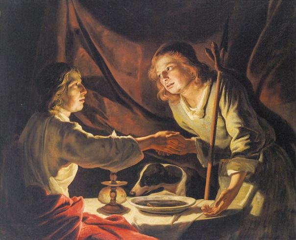 הרב יעבוד את הצעיר או הצעיר יעבוד את הרב. מתיאס שטומר, יעקב קונה את הבכורה מעשיו, המאה ה–17