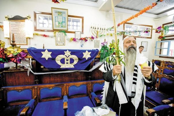 """יופי וצבעוניות מדין """"זה א–לי ואנוהו"""". סוכות בבית הכנסת בקזבלנקה, מרוקו, 2009 צילום: אביר סולטן, פלאש 90"""