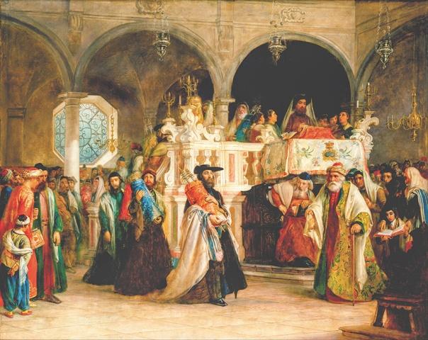 להעניק תוכן ליום שמיני עצרת לאחר החורבן. שמחת תורה בבית הכנסת באיטליה, סולומון הארט, 1850