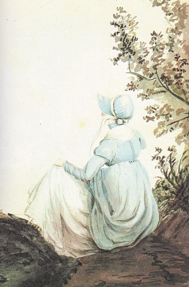 תיעוב עז ובלתי מוסתר כלפי גיבורת ספרה. ג'יין אוסטן בציור שציירה אחותה קסנדרה, 1804