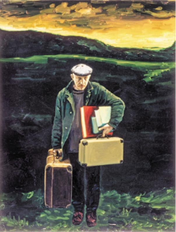 המולדת שלו היא עולם התרבות והרוח. מאיר פיצ'חדזה, דיוקן עצמי עם מזוודות, 1996