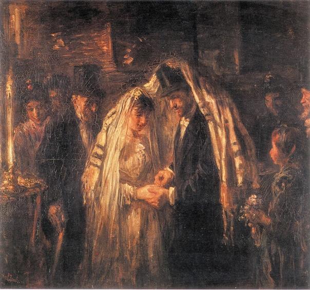 הנישואין הם פרשת דרכים, שבה האדם היהודי צריך להשיב על השאלה במה מתבטאת היהדות שלו. יוסף ישראלס, חתונה יהודית, 1903