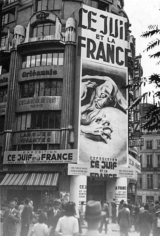 """המפגש עם צלקות השואה של יהדות צרפת השפיע על הגותו של מניטו. התערוכה האנטישמית """"היהודים וצרפת"""", פריז, 1941"""