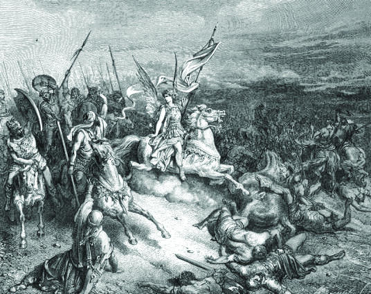 הצלחתו הצבאית התפרשה כניצחון דתי. ניצחונו של יהודה המכבי, גוסטב דורה