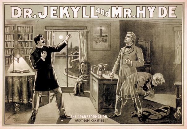 """סיפורו של וולס אפלולי, מדויק וצולפני יותר. פוסטר """"המקרה המוזר של ד""""ר ג'קיל ומיסטר הייד"""", 1880"""