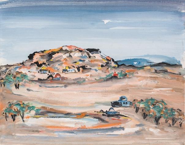 """הטבע בשבילנו הוא כמו מים לדג. מרדכי אבניאל, נוף, שנות ה–70. מתוך התערוכה """"סיפור על ציונות ואמנות"""" המוצגת בגלריה משרד, תל אביב."""