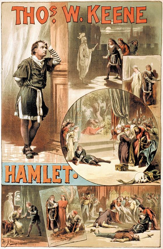 """דמות שהשתחררה מכבליה הספרותיים ומהלכת כאחד האדם. פרסומת לעיבוד אמריקאי ל""""המלט"""", 1884 """