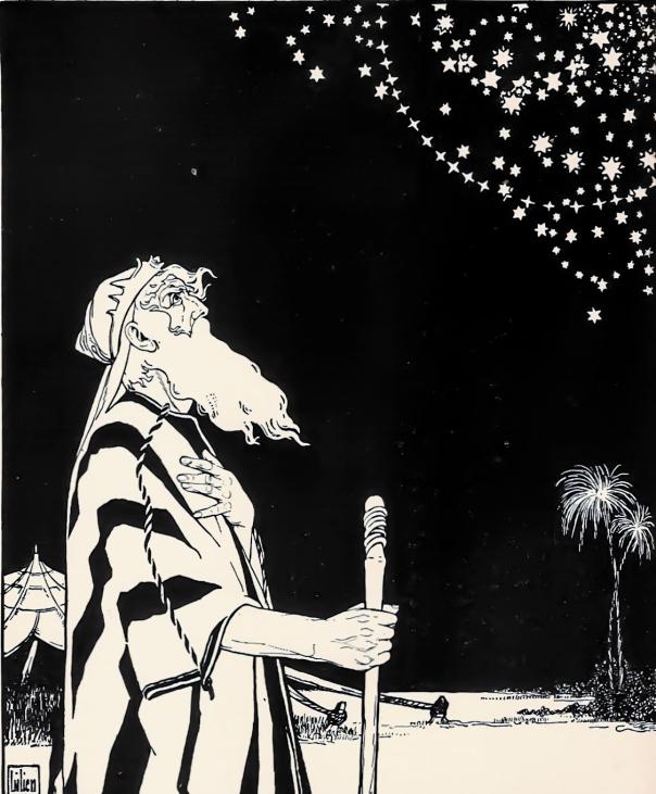 """בעל מעמד שווה ערך כביכול לזה של הקב""""ה. אברהם, תחריט עץ מעשה ידי אפרים משה ליליין, 1908"""